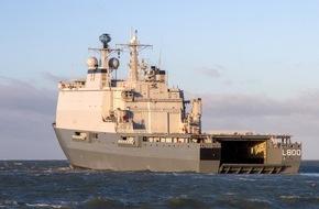"""Presse- und Informationszentrum Marine: Startschuss für deutsch-niederländische Marinekooperation - Gemeinsame Übung mit dem Unterstützungs- und Versorgungsschiff """"Karel Doorman"""" in Warnemünde"""