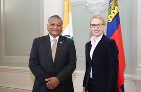 Fürstentum Liechtenstein: ikr: Aurelia Frick diskutiert Freihandelsabkommen mit indischem Staatsminister