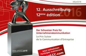 Award Corporate Communications: Swiss Award Corporate Communications®: ouverture du dépôt des candidatures