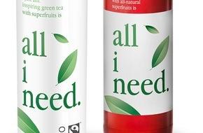 """Krombacher Brauerei GmbH & Co.: """"all i need."""" - Grüntee-Erfrischungsgetränk nun auch in Deutschland / Bio, fairtrade, vegan / Leadprodukt einer neuen Getränkegeneration aus Österreich"""