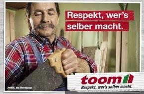 """toom Baumarkt GmbH: """"Respekt, wer's selber macht"""" / toom Baumarkt startet mit neuer Kampagne ins Frühjahr"""
