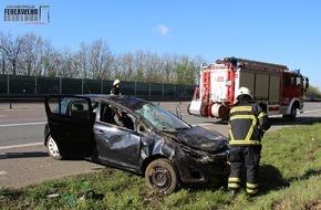 Feuerwehr Iserlohn: FW-MK: Spektakulärer Verkehrsunfall auf der Autobahn 46