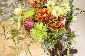 """Blumenbüro: """"Unexpected Wild"""": Die herbstliche Jahreszeit rustikal gestalten - Chrysanthemensträuße für ein stimmungsvolles Herbst-Feeling"""