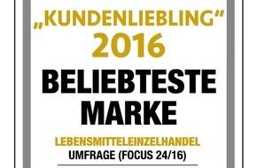 """LIDL: Lidl belegt Platz eins in der Kategorie Lebensmitteleinzelhandel bei Focus Money-Studie """"Kundenlieblinge 2016"""" / Lidl Deutschland erhöht deutlich Punktzahl im Vergleich zum Vorjahr"""