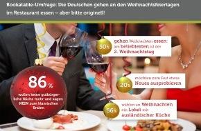 Bookatable GmbH & Co.KG: Moderne Küche statt Weihnachtsgans / Bookatable-Umfrage: 86% der Restaurantgäste wünschen sich zum Fest eine Alternative zum traditionellen Braten