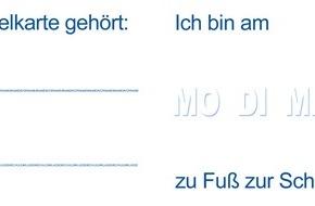 """Polizeipräsidium Frankfurt am Main: POL-F: 150827 - 671 Frankfurt: Aktion """"Ohne Eltern-Taxi ist der Schulweg sicherer!"""" - Stempelkarte zum Schulanfang (siehe auch FOTO)"""