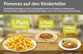 Bookatable GmbH & Co.KG: Ich will Pommes, Mami! / Umfrage: Pommes, Spaghetti und Schnitzel sind für Kinder die Highlights in Restaurants und noch beliebter als Eis - Gemüse und Salat können in der Küche bleiben.