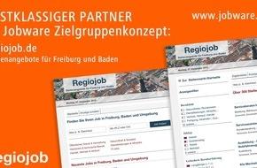 Jobware Online-Service GmbH: Regiojob vertraut im Stellenmarkt auf Jobware / Mehr Reichweite in Freiburg und Südbaden