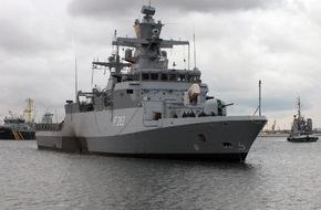 """Presse- und Informationszentrum Marine: Korvette """"Erfurt"""" läuft zum UNIFIL-Einsatz aus"""