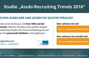 """u-form Testsysteme GmbH & Co KG: Studie """"Azubi-Recruiting Trends 2016"""" / Start der größten doppelperspektivischen Umfrage zum Thema Azubi-Marketing in Deutschland"""