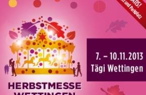 Herbstmesse Wettingen: Vier Tage Attraktionen und Feststimmung: Herbstmesse Wettingen - 7. bis 10. November 2013 - Tägi Wettingen (BILD/ANHANG)