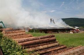 Polizeipräsidium Trier: POL-PPTR: Großbrand in einem Sägewerk