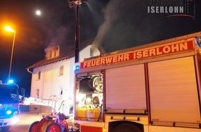 Feuerwehr Iserlohn: FW-MK: Brand einer Dachgeschosswohnung