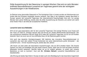 P8 GmbH: And the European Hospitality Award goes to...  Der Lanserhof Tegernsee ist das beste Spa-Hotel in Europa - ANHÄNGE