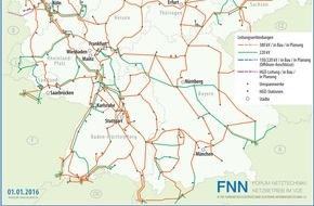 VDE Verb. der Elektrotechnik Elektronik: Aktuelle Karte des Höchstspannungsnetzes veröffentlicht / VDE|FNN: Große Fortschritte beim Ausbau der Offshore-Netzanschlüsse