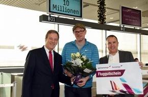 Flughafen Köln/Bonn GmbH: Flughafen Köln/Bonn begrüßt 10-millionsten Passagier