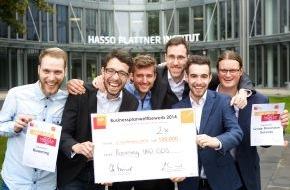 HPI Hasso-Plattner-Institut: Studenten gründen Unternehmen: Zwei Teams gewinnen je 100.000 Euro Startkapital und Sachunterstützung / Finale im Businessplanwettbewerb von Hasso Plattner
