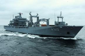 """Presse- und Informationszentrum Marine: Einsatzgruppenversorger """"Bonn"""" kehrt nach sechs Monaten als NATO-Flaggschiff zurück"""