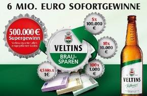 Brauerei C. & A. Veltins GmbH: 6 Mio. Euro in bar bei beliebter Kronkorken-Aktion: Veltins Brausparen 2015 mit Super-Gewinn von 500.000 Euro