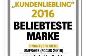DVAG Deutsche Vermögensberatung AG: Ausgezeichnete Marke: Deutsche Vermögensberatung ist Kundenliebling 2016
