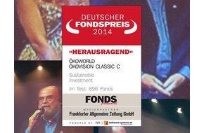 ÖKOWORLD AG: DEUTSCHER FONDSPREIS 2014 für ÖKOWORLD ÖKOVISION CLASSIC / FONDS professionell, die FAZ und das Institut für Vermögensaufbau vergeben DEUTSCHEN FONDSPREIS an ÖKOWORLD (FOTO)