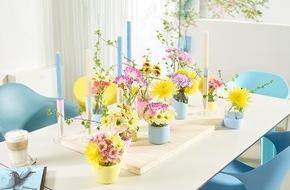 """Blumenbüro: Frühlingshafte Chrysanthemen in leuchtenden Farben / Lust auf bunt: """"Happy Life""""-Vasen für die Chrysantheme"""