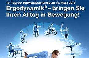 """Aktion Gesunder Rücken e. V.: Aktion Gesunder Rücken e. V. / """"Ergodynamik - bringen Sie Ihren Alltag in Bewegung!"""" / 15. Tag der Rückengesundheit am 15. März 2016"""
