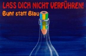 """DAK-Gesundheit: Alkohol-Teufel gefangen: Brandenburger Schüler gewinnt DAK-Kampagne """"bunt statt blau"""" 2015 gegen Komasaufen"""