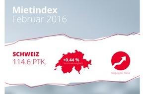 homegate AG: homegate.ch-Mietindex: Anstieg der Angebotsmieten im Februar 2016