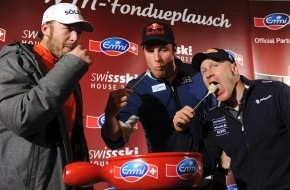 Emmi Schweiz AG: Weltmeisterlicher Fondueplausch mit Cuche, Svindal und Miller