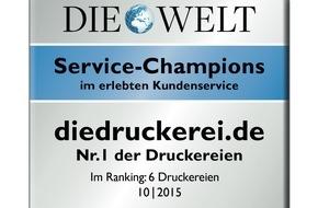 """Onlineprinters GmbH: diedruckerei.de zum dritten Mal als """"Service-Champion"""" ausgezeichnet / Online-Druckerei erneut Branchen-Bester im erlebten Kundenservice"""