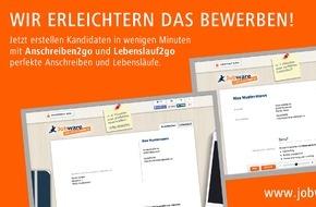 Jobware Online-Service GmbH: Lebenslauf2go + Anschreiben2go / Die Jobbörse Jobware erleichtert das Bewerben