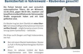 Polizeidirektion Hannover: POL-H: Nachtragsmeldung Bankräuber flüchten mit Beute - Kripo verteilt Flyer