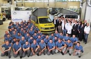 VW Volkswagen Nutzfahrzeuge AG: Volkswagen Nutzfahrzeuge / 'Hotel California': 60.000-mal mit eingebauter Ferienfreude / - Jubiläum in der California-Fertigung Hannover-Limmer / - Reisemobil steuert 2015 Produktionsrekord an