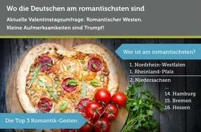 Bookatable GmbH & Co.KG: Bookatable-Umfrage: so romantisch is(s)t Deutschland / Aktuelle Valentinstagsbefragung: Der Westen Deutschlands und die Aufmerksamkeit im Alltag sind am romantischsten
