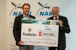 Krombacher Brauerei GmbH & Co.: Krombacher spendet für den Naturschutz - NABU erhält 500.000 Euro für die Flussrenaturierung an der Lahn