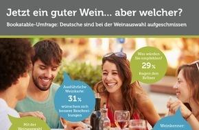 Bookatable GmbH & Co.KG: Die Qual der Wahl: Welcher Wein darf es sein? / Bookatable-Umfrage: Land der Laien? - Die Mehrheit der Deutschen benötigt Hilfe bei der Weinauswahl im Restaurant
