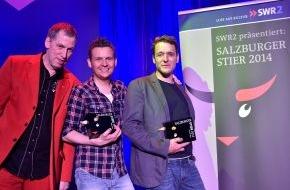 """SWR - Südwestrundfunk: Europäischer Kabarettpreis verliehen: drei """"Salzburger Stiere"""" für Tobias Mann, Thomas C. Breuer und Christof Spörk / Insgesamt 18.000 Euro Preisgeld"""