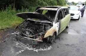Polizeidirektion Kaiserslautern: POL-PDKL: A62/Landstuhl, Pkw geht in Flammen auf