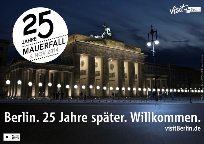 Berlin feiert vom 7. bis 9. November 25 Jahre Mauerfall / Eine Grenze aus Licht und viele Geschichten - Höhepunkt: 8000 Ballons steigen auf