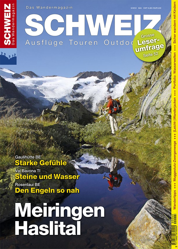 Wandermagazin SCHWEIZ im Mai_2012: Meiringen-Haslital: Gipfel, Hütten, Säumerwege
