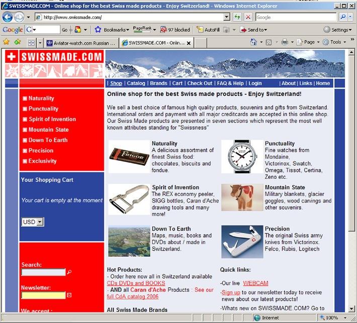 SWISSMADE.COM - Onlineshop mit Schweizer Mentalität: Eine Marktlücke und CMS-Eigenentwicklung bringen Umsatz
