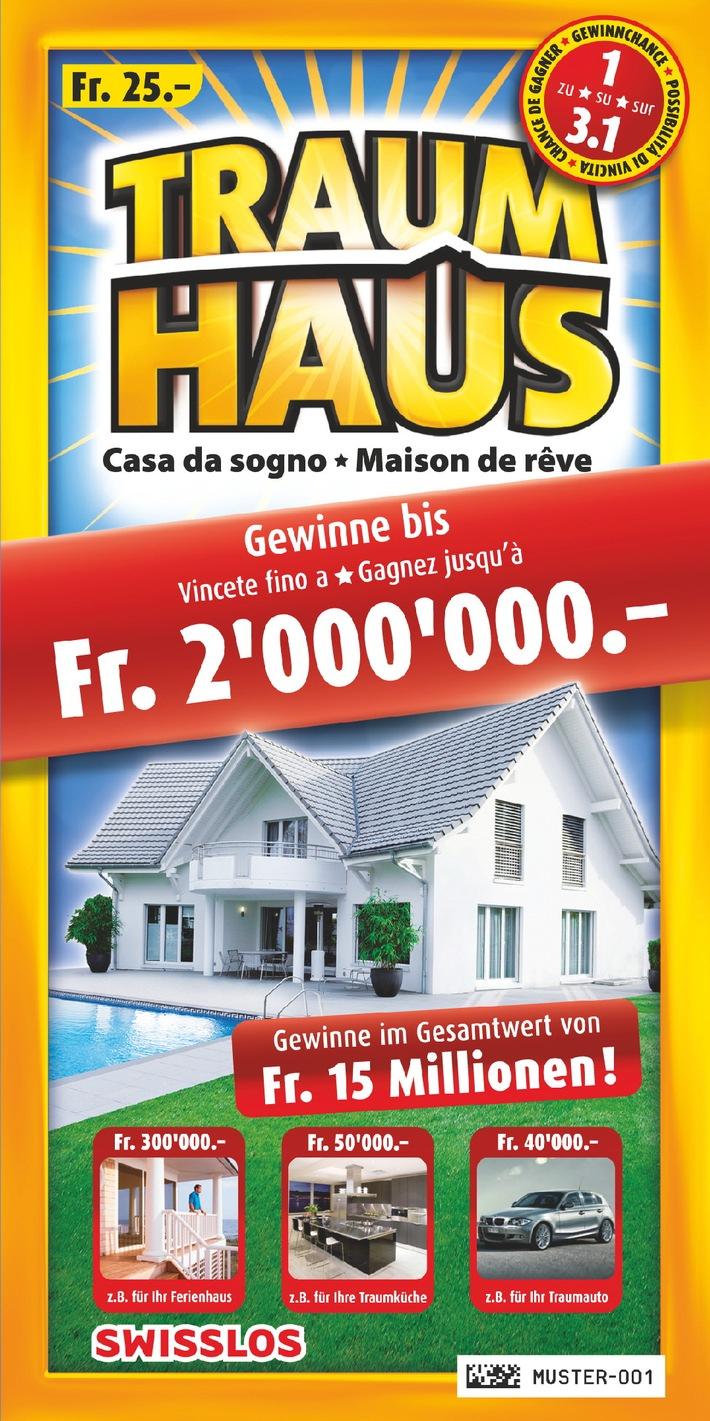 SWISSHAUS fête ses 15 ans: le modèle de maison KIRA figure sur chaque billet «Maison de rêve» de Swisslos