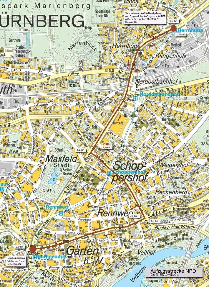 POL-MFR: (748) Massive Verkehrsbehinderungen am 1. Mai 2008 in Nürnberg