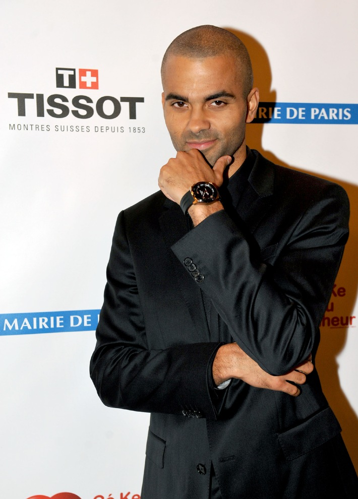 Tissot presents Tony Parker with his first limited edition watch at the Par Coeur Gala in Paris