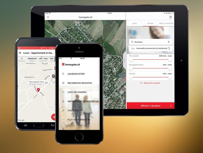 homegate.ch propose de nouvelles applications - plus conviviales, plus rapides et avec des fonctions étendues