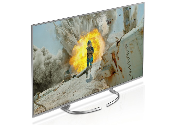 4K Innovation mit Eleganz und Flexibilität / Panasonic EXW734 mit verbessertem Panel für hervorragende Bildqualität mit messerscharfen Bewegungen, HDR Multi und Quattro Tuner mit Twin-Konzept
