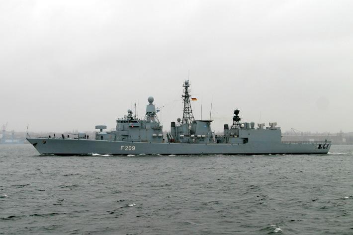 """Deutsche Marine: Fregatte """"Rheinland-Pfalz"""" wieder in Wilhelmshaven  Teilnahme an NATO-Einsatzverband beendet"""