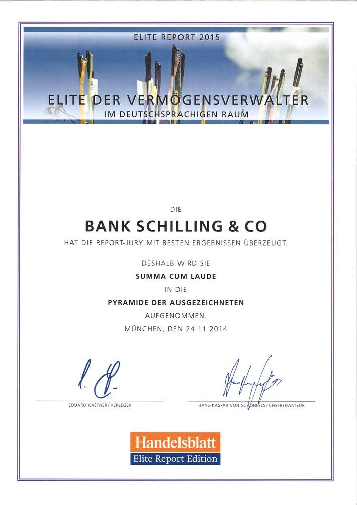 Elite Report 2015: Bank Schilling Top-Vermögensverwalter