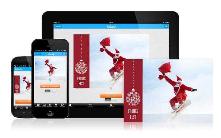 Echte Weihnachtskarten per Smartphone versenden / Individuelle Grüße zum Fest der Liebe - Pixum Instacard App für iPhone, iPad und Android-Geräte